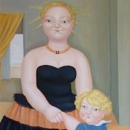 Con il  piccolo   Jacopo  olio su tela - 50x70 - 2001