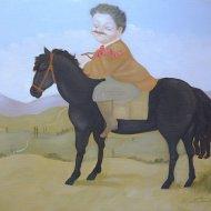 Sul cavallo  nero       olio su tela 50x60    2001