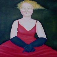 L'attesa con abito rosso     -olio-su-tela-50x60-2009