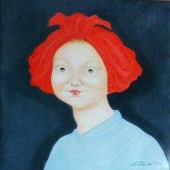 Il turbante rosso di Magdala   olio su tela   40x40   2018