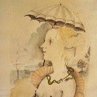 Simonetta Vespucci affronta il temporale  Acquerello con matita1989