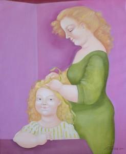 La pettinatura di Elisabetta olio su tela50x60 anno 2000