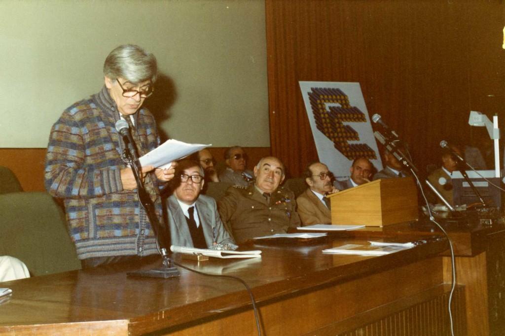 Inaugurazione Electronic Art Festival camerino 1983 intervento di Renzo Vespignani con mario verdone, gen.cappuzzo umberto, il ten.giuseppe di stefano,il rettore tedeschi
